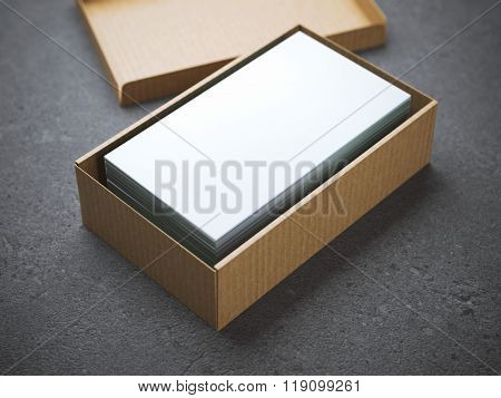 Stack of business cards in package