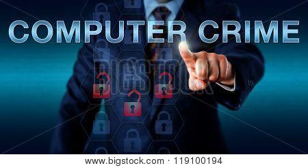 Forensic Investigator Pushing Computer Crime.