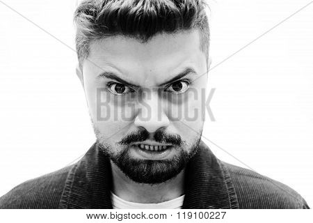 Close-up Studio Portrait Man Angrily Disgusted Face Expression On White