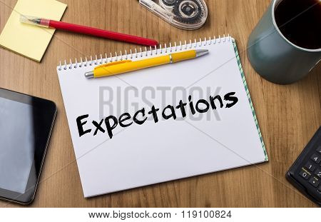 Expectations - Note Pad With Text