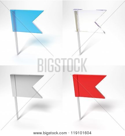 Four Pin Flags Isolated