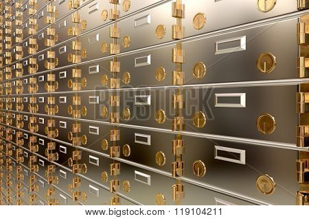 Safe deposit boxes in a bank vault
