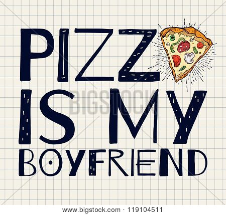 Funny Pizza poster doodle style. Vector.