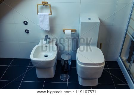 Toilet And Bidet In A Modern Bathroom