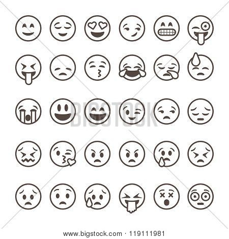 Set of outline emoticons, emoji isolated