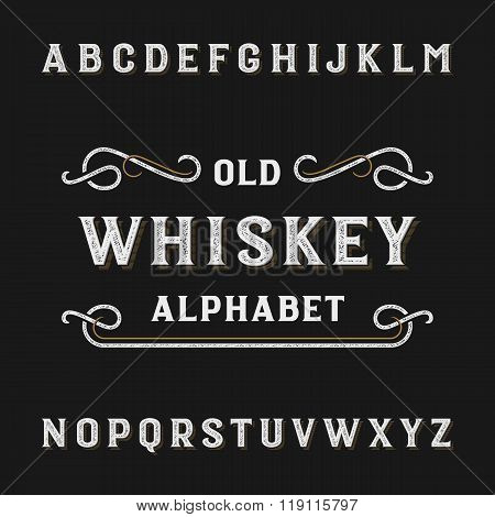 Old whiskey alphabet vector font