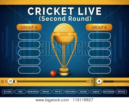 Live Cricket telecast video player window showing second round matches schedule with participant countries name on blue background.