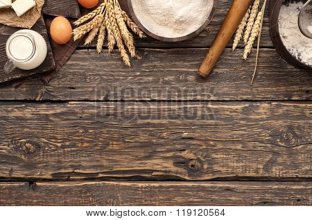 Flour With Spikelets Of Wheat, Eggs, Milk And Butter