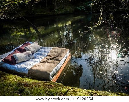 Bed on a lake
