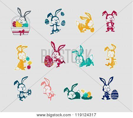 Easter Rabbit Icon Set Design Flat