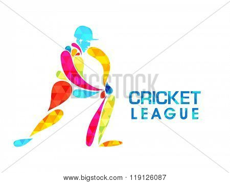 Creative colorful illustration of batsman ready to hit the shot for Cricket League concept.