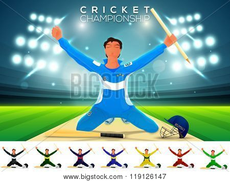 Cricket Batsman in winning pose on stadium lights background.
