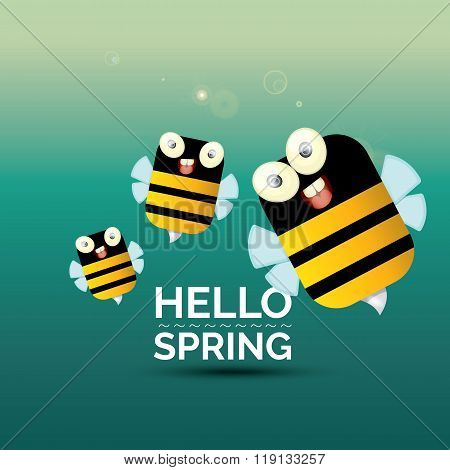 Hello spring . cartoon cute bright baby bee icon