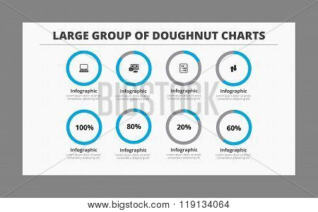Group of Eight Doughnut Charts