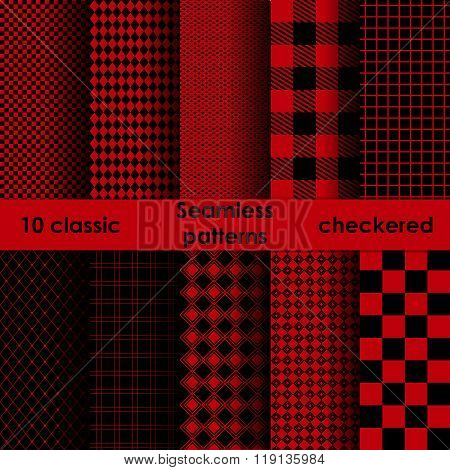 Checkered Red And Black Fabric Seamless Pattern.