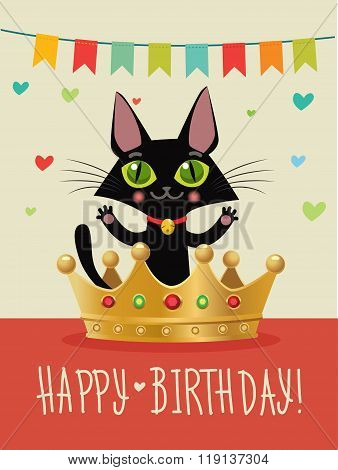 Happy Birthday To You. Happy Birthday Card With Funny Black Cat And Gold Crown. Wish And Humor. Greeting Card. Birthday Image. Funny Cat In The Gold Crown. Happy Birthday Cat Funny. Birthday Wishes.
