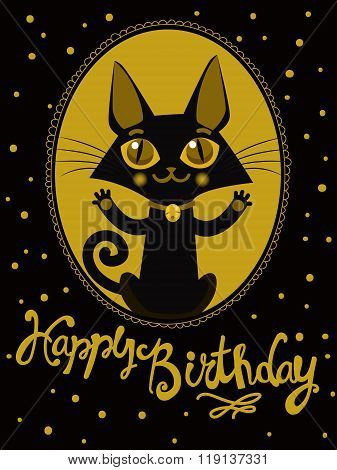 Happy Birthday To You Wish. Handdrawn Lettering. Greeting Card. Birthday Image. Funny Happy Birthday. Birthday Wishes. Happy Birthday Image. Happy Birthday Card. Funny Cat. Gold Style. Animal Vector.