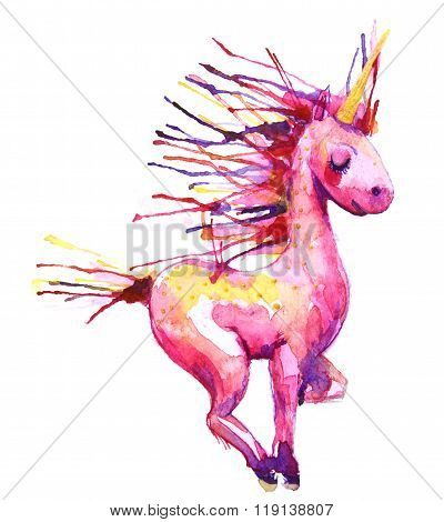 Watercolor pink unicorn  illustration