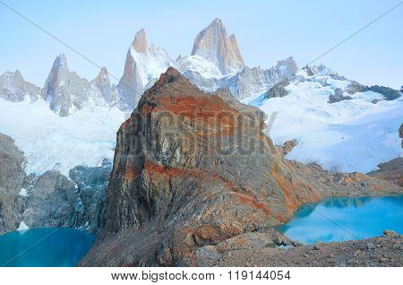 Sucia And Los Tres Lakes By Fitz Roy Mountain.