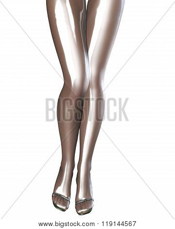 Sexy slim female legs in latex stockings. Conceptual fashion art. Shiny bright pantyhose. Seductive sensual pose. 3D render. poster