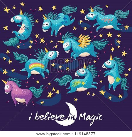 Magic card with cute unicorn. Vector cartoon illustration