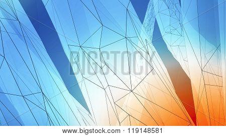 Concept of highly detailed blue orange line background. Art background, horizontal. 3d render