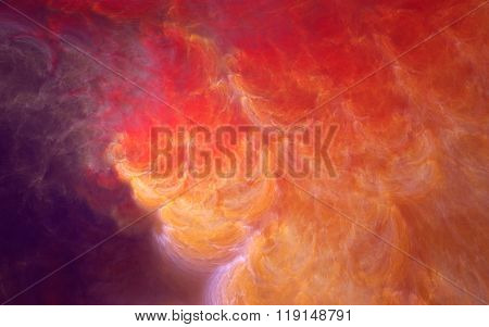 Abstract fractal background, yellow-red smoke clouds in purple ambience