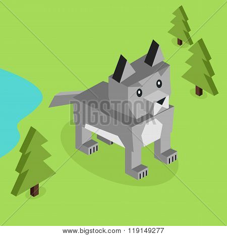 Wild Animal Wolf Isometric 3d Design