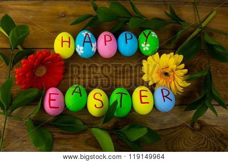 Easter Eggs On A Dark Wooden Background