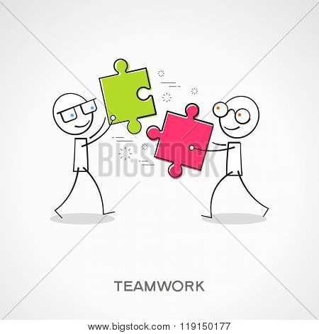 Stickmans with puzzles. Doodle vector illustration. Teamwork concept. The file is saved in the version 10 EPS.