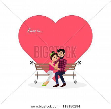 Happy Valentine Day Couple Sitting on Bench