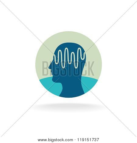 Head Scan Logo. Brain Activity Waveform Illustration.