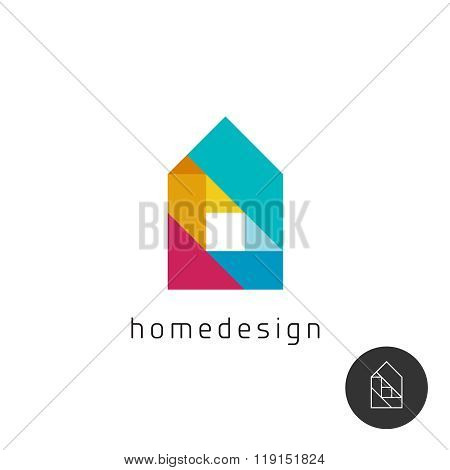 House Design Concept Colorful Rainbow Geometric Elements Logo.