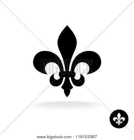 Fleur De Lis Simple Elegant Black Silhouette Logo