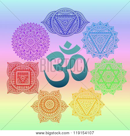 Set of seven chakras and symbol OM in the centre. Oriental ornaments for henna tattoo and for your d