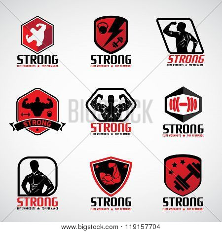 Red And Black  Strong Fitness Logo Vector Set Design