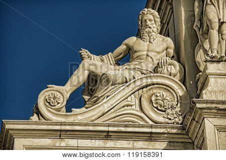 Detail Of The Rua Augusta Arch, A Stone Triumphal Arch-like In Lisbon, Portugal, Built To Commemorat