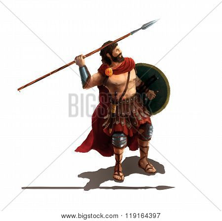 Spartan with spear, character on white