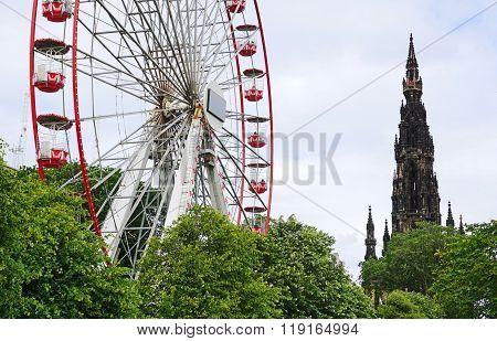 Ferris Wheel And Scott Monument, Princes Street Gardens, Edinburgh, Scotland