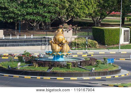 Golden Coffeepots Monument In Oman