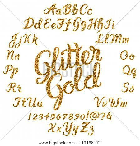 Handwritten Glitter Gold alphabet vector font. Hand drawn brush script letters on black background. Stock vector lettering typography