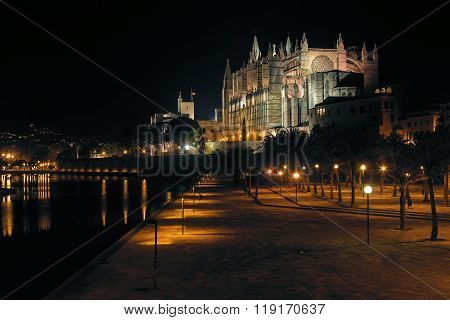 La Seu, Palma de Mallorca Cathedral at night