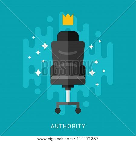 Business Concept. Authority. Vector Illustration In Flat Design Style. Chair With Crown