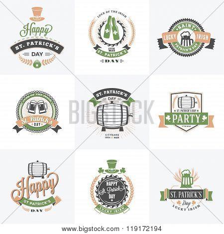 Set Of St. Patricks Day Retro Holiday Badges. Vector Greetings Card Design. Saint Patricks Day Backg