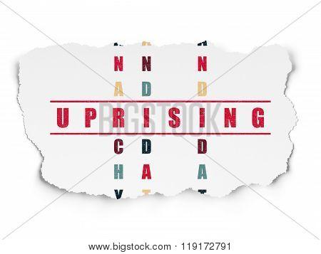 Political concept: Uprising in Crossword Puzzle