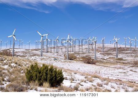 Wind turbines in winter generating clean energy