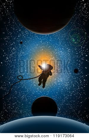 vector illustration of planets and sun,astronaut, sunrise in space, space design, universe concept,
