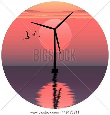 vector illustation of windmill. electric windmill in the sea. windmill at sunset. windmill at sunris
