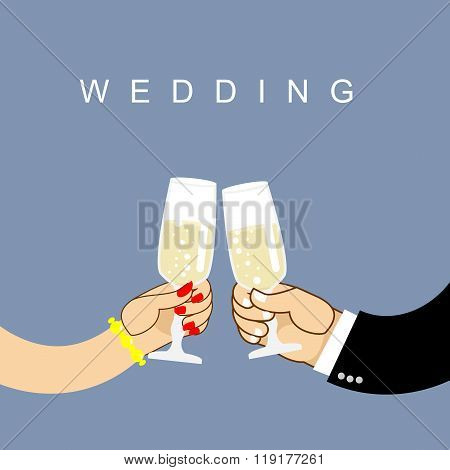 Wedding. Newlyweds Clink Glasses. Bride And Groom Drink Wine From Wine Glasses. Romantic Illustratio