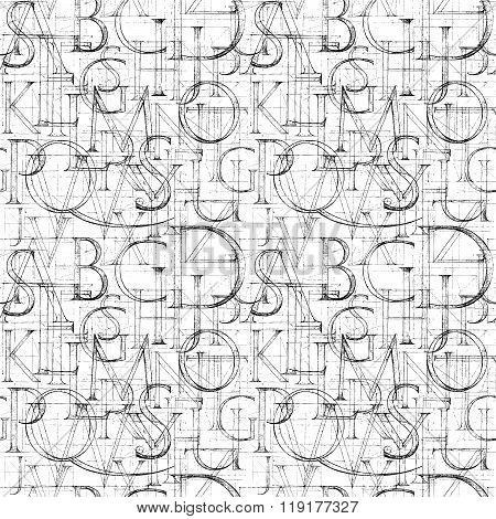 Wallpaper Seamless Pattern With Modern Roman Classic Alphabet.